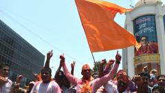 Shiv Sena Party workers celebrating at Sena Bhavan on May 23, 2019. ANI Photo