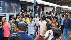 A large number of passengers seen at the Pune railway station to catch a train