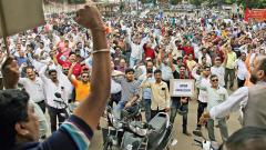Over 7,000 workers joined a nationwide protest to oppose the corporatisation of the ordnance factories.  Parag Jadhav