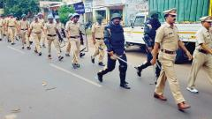 In a show of strength, Pune rural police officials organised a march in Vadgaon, to instill a sense of confidence among people, on Wednesday.