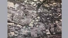 (FILES) This aerial view taken on June 21, 2017 and provided by Iraq's Joint Operation Command reportedly shows destruction inside Mosul's Nuri mosque compound.