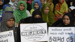 "This file photo taken on November 4, 2016 shows Indian Muslim women at a rally to oppose the Uniform Civil Code (UCC) that would outlaw the practice of ""triple talaq"" in Ahmedabad."