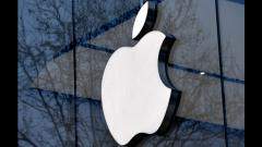 File photo taken on February 8, 2018, the logo of the US multinational technology company Apple is on display on the facade of an Apple store in Brussels. Emmanuel Dunand/AFP