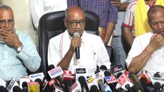 Senior Congress leader Digvijaya Singh addresses a press conference after his defeat in the Lok Sabha elections, in Bhopal on May 24, 2019. PTI Photo
