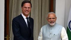 Prime Minister Narendra Modi shakes hands with Dutch Prime Minister, Mark Rutte, before a meeting at the Hyderabad house in New Delhi on May 24, 2018. Money Sharma/AFP