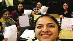 Aditi Deo with her calligraphy students