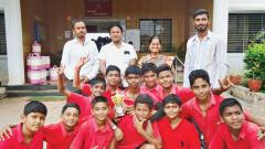 Students of Vidya Pratishthan's English Medium School, BILT, Bhigwan who won the under-14 Taluka level Inter-School Volleyball tournament.