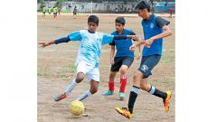 Players of Millennium in action against BVB Paranjape School at the SSPMS Ground on  Saturday.