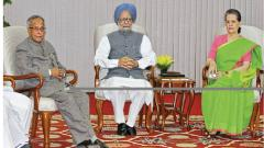 Former PM Manmohan Singh (C), Congress President Sonia Gandhi (R) and then Finance Minister Pranab Mukherjee during a UPA meeting in New Delhi.