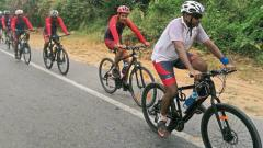 A moment during  the cycling expedition.