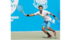 N Prashanth in action during the first round match against Aryan Goveas in the $50000 + Hospitality KPIT MSLTA ATP Challenger at Balewadi Sports Complex on Tuesday.