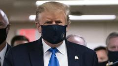 Trump wears a mask publically for the first time during hospital visit