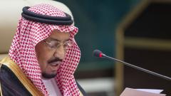 This handout photo taken and released by the Saudi Royal Palace on May 31, 2019 shows Saudi King Salman bin Abdulaziz addressing the Gulf Cooperation Council (GCC) held at al-Safa Royal Palace in the Saudi holy city of Mecca.
