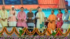 Prime minister Narendra Modi with Uttar Pradesh Governor Ram Naik, Chief Minister Yogi Adityanath and others inaugurate the Bansagar canal project during a public meet, in Mirzapur on Sunday.