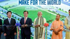 Prime Minister Narendra Modi with South Korean President Moon Jae-in, Uttar Pradesh Chief Minister Yogi Adityanath and other delegates at the inauguration ceremony of world's largest mobile phone manufacturing facility, in Noida on Monday.