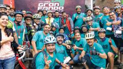 Participants pose during the cycling event organised by Track & Trail on Saturday.