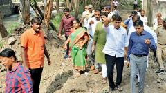 Mohol, Rao survey flood-hit areas to take action