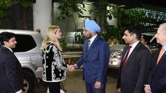 India's Ambassador to the United States Navtej Sarna welcomes Ivanka Trump, Advisor to the President of the USA, on her arrival at Shamshabad Airport in Hyderabad on Tuesday to attend the eighth edition of Global Entrepreneurship Summit 2017. US ambassado