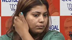 BJP Youth Wing Convenor Priyanka Sharma who was arrested for sharing a meme on West Bengal Chief Minister Mamata Banerjee, during a press conference after getting her bail in Kolkata on Wednesday. ANI Photo