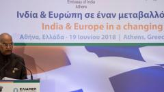 Indian President Ram Nath Kovind delivers a speech during the conference India and Europe in a Changing World organized by the Hellenic Foundation for European and Foreign Policy (ELIAMEP) in Athens. Angelos Tzortzinis/AFP