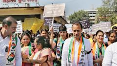 Nationalist Congress Party organised a march at Mahatma Phule Mandai on Wednesday to protest against demonetisation. NCP leader and former deputy chief minister Ajit Pawar (C), NCP MP Supriya Sule and several leaders participated in the march.