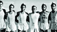 Lt Col Fonseca (3rd R) with Milkha Singh (3rd L) and other athletes.