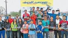 The winners of various categories of the season-ending Indi-Karting Go Kart race at Kharadi circuit