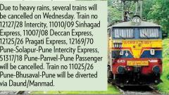 Trains cancelled following continuous rain in Mumbai
