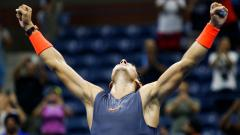 Spain's Rafael Nadal celebrates after defeating Austria's DominicThiem during their Men's Singles Quarter-Finals match at the 2018 US Open at the USTA Billie Jean King National Tennis Center in New York on Wednesday.
