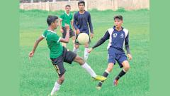 Players of The Orbis School (in green) in action against JN Petit Technical School on Sunday.