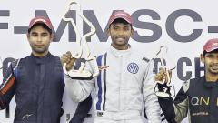 Sandeep Kumar (centre), winner of MRF FF1600 Race 2 flanked by Anindith Reddy (left) and Chetan Korada.