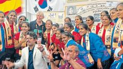Indian women's hockey squad at the exhibition.