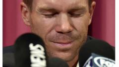 Australian cricketer David Warner attends a press conference at the Sydney Cricket Ground (SCG) in Sydney on March 31, 2018, after returning from South Africa.