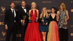 "Reese Witherspoon, Nicole Kidman, and the cast and crew of ""Big Little Lies"" pose with the award for Outstanding Limited Series for ""Big Little Lies"""" during the 69th Emmy Awards at the Microsoft Theatre on September 17, 2017 in Los Angeles, California. /"