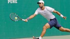 A file picture of Yuki Bhambri in action during the Pune Challenger event at Balewadi Sports Complex.