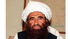 A file picture taken on October 19, 2001 shows former Afghanistan's ruling Taliban militia's key man Jalaluddin Haqqani, commander-in-chief of southern Afghanistan and minister of border region, speaking with media in Pakistan's capital city of Islamabad.