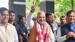 Union Home Minister Amit Shah with Assam CM Sarbananda Sonowal and  Assam FM Himanta Biswa Sarma arrives to attend the 68th Plenary Session of the North Eastern Council in Guwahati on Sunday.