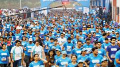 School children and teachers enjoy fun run