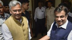 Uttarakhand Chief Minister Trivendra Singh Rawat greets Union Minister for Road Transport and Highways Nitin Gadkari, at the latter's residence, in New Delhi, on June 15, 2019. PTI Photo