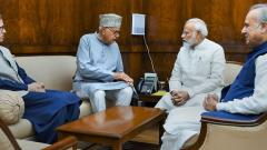 J&K National Conference Chief Farooq Abdullah, former chief minister Omar Abdullah and party MP Justice (Retd.) Hasnain Masoodi met Prime Minister Narendra Modi in New Delhi, on Thursday.