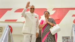 President Ram Nath Kovind with Frist Lady Sarita Kovind greet as they depart for a state visit to Greece, Suriname and Cuba, in New Delhi on Saturday, June 16, 2018. RB/PTI