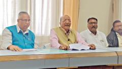 Ramu Pawar, President. MSSKC (2ndL) addressing the media at the civic headquarters on Saturday