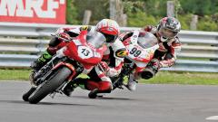 Aravind Balakrishnan (No.13) stormed to the pole position in Pro-Stock (up to 165cc) class at MMRT on Saturday.