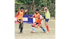 A player from Vikhe Patil Memorial School, Lohegaon (green) vies for the ball during their match against Father Agnel's Vidyankur School on Tuesday.