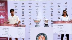 `Siddhant Banthia (left) and Rashmikaa S Bhamidipaty pose with their trophies after winning the Indian leg of Junior French Open Wild Card tournament in Delhi