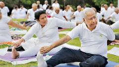 Senior Citizens at a gathering on International Yoga Day that has now been recognised by the Limca Books of Records