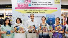 all smiles: During the launch of the first edition of Social For Action Book Club on Sunday at Crossword bookstore in Aundh, a compilation of poems in books were released by Executive Director of MahaMetro Neelam Saxena Chandra. (L to R) Hosts Veena Dixit