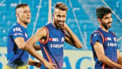 MS Dhoni shares a light moment with Hardik Pandya and Jasprit Bumrah on the eve of their match on Friday