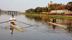 Rowers in action at the Royal Connaught Boat Club during the Rowing Championship