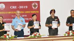Lieutenant General Bipin Puri (centre) and other dignitaries releasing Artificial Limb   Centre's magazine 'Stride', in Pune